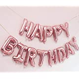 AMFIN (16 inch) Happy Birthday Letter Foil Balloon Birthday Party Supplies , Happy Birthday Balloons for Party Decoration - Rosegold