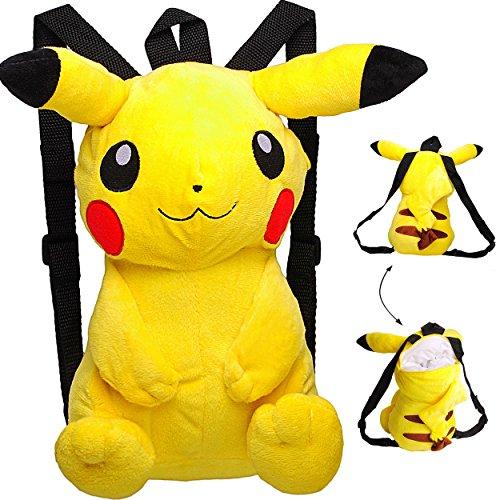 alles-meine.de GmbH großer XL _ 3-D Effekt _ Rucksack & Kuscheltier -  Pokémon Pikachu  - Plüsch Kinderrucksack / Plüschtier - für Kinder & Erwachsene - Kindergartenrucksack - ..