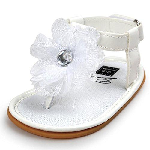 Chaussures Enfant Longra Filles Chaussures Fleur perle Des sandales (Taille: 11, Noir-B) Blanc