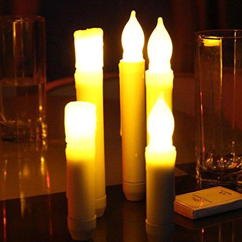velas LED Taper, Amarillo parpadeo bombillas Pilas LED Pilar velas para la decoración del hogar Cumpleaños, iglesias, fiestas y Navidad, baterías no incluidas