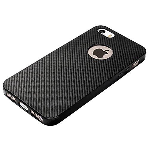 MOONCASE iPhone SE /5S Hülle, Karbon Elastisch Fallschutz Anti-Scratch Rugged Armor Defender TPU Case Tasche Schutzhülle für iPhone 5 / 5S / iPhone SE Schwarz Weiß