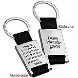 Schlüsselanhänger Schönster Tag mit Gravur Rückseite - personalisierter gravierter Schlüssel Anhänger Kalender-Design - Ich Liebe Dich Geschenk für Freund, Freundin, Männer, Frauen