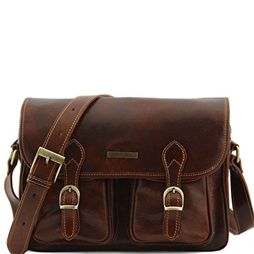 Tuscany Leather San Marino Borsa da viaggio in pelle con tasche frontali Testa di Moro Marrone