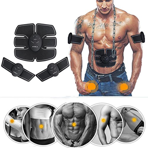Unisex 6 Pack Abs Abdominal & Arm Muscle Trainer Electric Pad (Taille Expander)