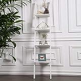 Wall Shelves - Nordic Massivholz Leiter Rack Hängende Wand Schlafzimmer Wohnzimmer Decorationcreative Bücherregal Home Decor Storage Racks (Farbe : Weiß)