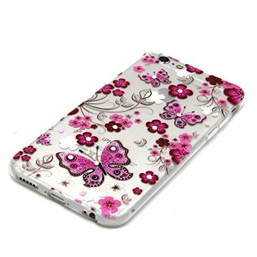 iPhone 5 5S Custodia, iPhone 5 5S Cover, iPhone 5 5S Case, Felfy Custodia Trasparente Chiaro Ultra Sottile Silicone Gel TPU Morbida Elegante Belle Rosa Farfalla Floral Fiore Bling di Scintillio del Di Rosa Farfalla
