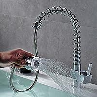 Commerciale moderna Pull Out monocomando cromo lucido Pull Down Spray Kitchen Sink Faucet, Funzioni erogatore spruzzatore di miscelatore del rubinetto