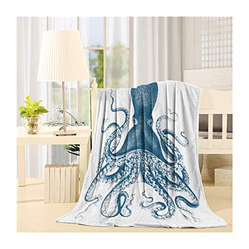 SIGOUYI Leicht Fleece Decken Wendedecke Cozy Plüsch Mikrofaser ganzjährig Decke für Bett/Couch, Octopus Thema Ocean Tiere Modern 50