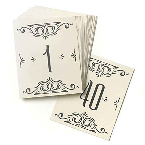 Hortense B. Hewitt Hochzeits-Zubehör Glamour Tischkarten, Zahlen 1 bis 40