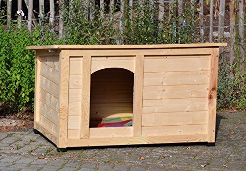 """dobar 55014FSC Hundehütte """"Lord"""", XL Outdoor Hundehaus für große Hunde, Platz für Hundebett, wetterfest imprägnierte Hundehöhle, Dach mit Aufstellvorrichtung, 120x75x70 cm, 35kg Holzhütte - 5"""