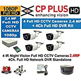 EAGLE EYE Cp Plus CCTV Full HD CP-UVR-0401E1S 4CH DVR 01 Pcs + Cp plus full HD 2.4mp Bullet IR CCTV Camera 4 Pcs +1TB HDD + 4-CH Power Supply 1 Pcs + BNC & DC Connectors & 3+1wire roll 1-pc