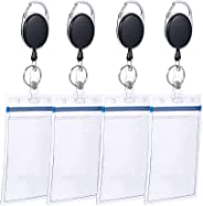 Solider 4 Pcs Retractable Badge Holder Cabinet Reel Clip Heavy Duty Clear Vertical Ring Clip Metal Badge Reel for Name Card,