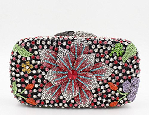Damen Abendtasche Diamant-Inlay Diamant-Mappe Hand Bankett Tasche Kristall bohren voll color 5