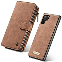 Wallet case for Samsung Galaxy Note 10 PLUS with Zipper 14 Card Slots Magnetic Detachable PU Leather Flip Phone case Cover Brown