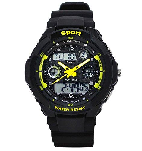 Sunjas 5atm impermeabile moda uomo lcd digital cronometro cronografo data dell'allarme casual sports wrist watch 2 time zone