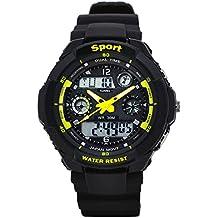 SunJas 50 M Montre Sport Étanche avec Lumière LED Numérique Bracelet avec Écran LCD Multifonctions Chronomètre Alarme Mostración Noctilucentes de la Date et du Temps. citronier