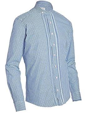 Almsach Herren Slim Fit Trachten Hemd mit Stehkragen HE175 jeansblau