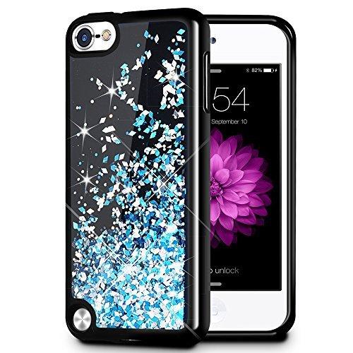 iPod Touch 5/6Fall, caka iPod Touch 6Glitter Case [Starry Night Serie] Fashion Bling Flüssigkeit Schwimmende Sparkle Glitzer Girly TPU Bumper Schutzhülle für iPod Touch 5/6-, blau (Fällen Touch Ipod Glitter)
