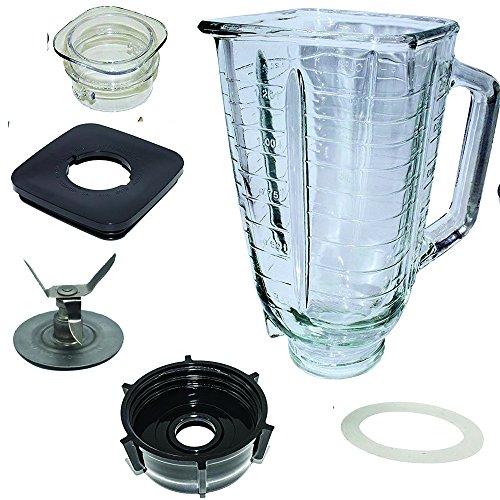 5Vierkantansatz Top Glas Versammlung, mit Klinge, Dichtung, Boden, Deckel. Passt Mixer von Oster - Oster-glas-mixer-glas