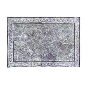 Translucide laminé fibre et Zari bordure en dentelle Sets de table en plastique (Set of 6)