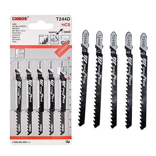 BE-TOOL - Cuchillas de sierra de calar T244D, 5 piezas, mango en T, hoja de sierra universal para cortar metal madera PVC y más - para Bosch, Dewalt, Hitachi, Makita, Festool etc.