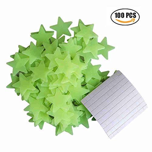 Fertige Wand Licht (100 Stück Leuchtende 3D Sterne Aufkleber in GRÜN für die Wand, Decke in Schlafzimmer oder Kinderzimmer, garantiert lange fluoreszierende Leuchtkraft)