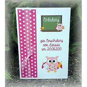 Einladung Einladungskarte Einschulung 1. Schultag Schulanfang Eule Tafel personalisierbar pink