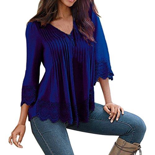 Shinekoo Damen Langarmshirt Plus Gr??e Tops V-Ausschnitt Einfarbig Aufdruck Spitze T-Shirt Locker Faltenbluse Bluse (Inset-v-ausschnitt)