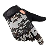 Flowerus Tactical Training Gloves Full Finger Fishing Gloves Anti-Slip Rubber Mittens Hunting Camping
