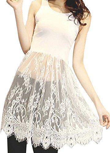 URqueen Women's Fashion Stitching Camisole Long Tank Vest Lace Dress white