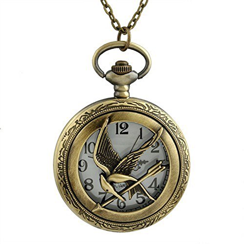 The Hunger Games Flying Phoenix Bronze Effekt Antik/Vintage Fall Quarz Taschenuhr Halskette–auf 81,3cm Zoll/80cm Kette