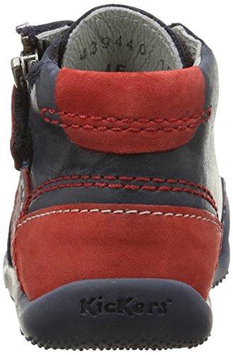 Kickers Bi Free, Chaussures Bébé marche mixte bébé Bleu (Marine/Rouge)