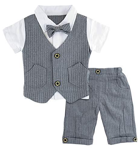 A&J Design Baby Junge Anzug 2 tlg Gentleman Streifen Kleidung Kurzen Ärmeln mit Bowtie (Grau, 2-3 Jahre/100)