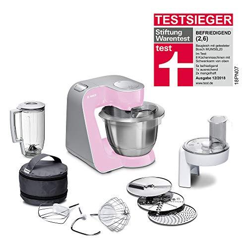 Bosch MUM5 MUM58K20 CreationLine Küchenmaschine (1000 W, 3 Rührwerkzeuge Edelstahl, spülmaschinenfest, Rührschüssel 3,9 Liter, max Teigmenge 2,7kg, Durchlaufschnitzler 3 Scheiben, Mixaufsatz) pink