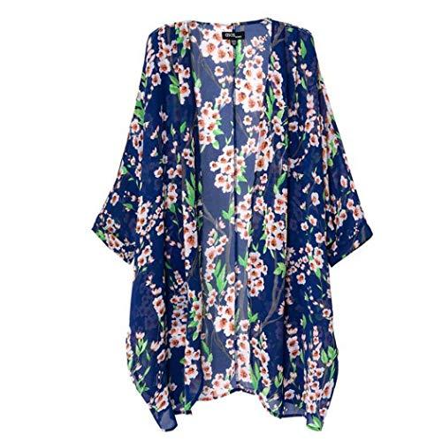 CUTUDE Damen Cardigan Herbst Mantel Langarm Kimono Chiffon Bluse Gedruckt Tops Blazer Jacke