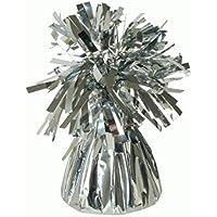 12 X Helium Balloon Weights Silver foil Tassle Cone