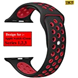 Taslar Replacement Band Strap for Apple Watch 42mm Series 3, Series 2, Series 1, Sport, Edition (Black Red)