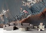 Mbwlkj Benutzerdefinierte Moderne Große Graue Muster Tapete 3D Wall Papers Wohnzimmer Ideen Küche Tapete Design Flamingos Kinder Tapete-150Cmx100Cm