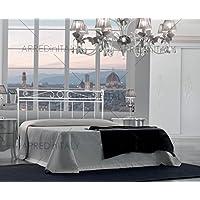 ARREDinITALY Cama de Matrimonio de Hierro Color Blanco con giroletto pregrabado para Red con Patas 160x 190cm. No Incluye–Producto Made IN Italy–arr045 - Muebles de Dormitorio precios
