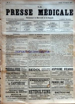 PRESSE MEDICALE (LA) [No 5] du 15/01/1921