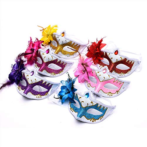 BLEVET 6PCS Venezianische Masquerade Federn Masken für Cospaly Maskenball Karneval Mardi Gras Ball Party MZ086 (6PCS Random Color)