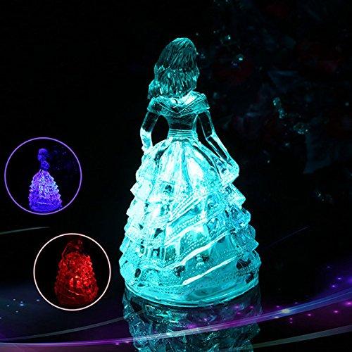 Bazaar Changement de couleur princesse LED lampe de bureau de lumière de nuit décoration de noël cadeau acrylique jouet mignon