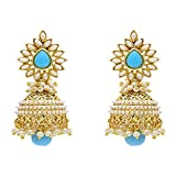 Bandish Cyan Blue Multipearl Earrings