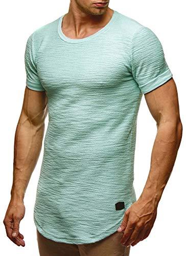 LEIF NELSON Herren Sommer T-Shirt Rundhals-Ausschnitt Slim Fit Baumwolle-Anteil | Moderner Männer T-Shirt Crew Neck Hoodie-Sweatshirt Kurzarm lang | LN6324 Mint XL -
