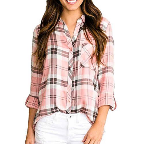 Vin beauty wlgreatsp Damen Gitter Langarm Shirt (Button-down-nicht-eisen-pinpoint)