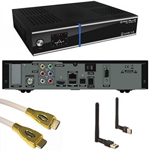 Giga Blue HD ULTRA UE FULLHD Sat Receiver LCD Display Linux USB LAN Gigablue 800 Plus UE + WLan Mega Stick von PremiumX + 1,8m PremiumX HQ HDMI KABEL