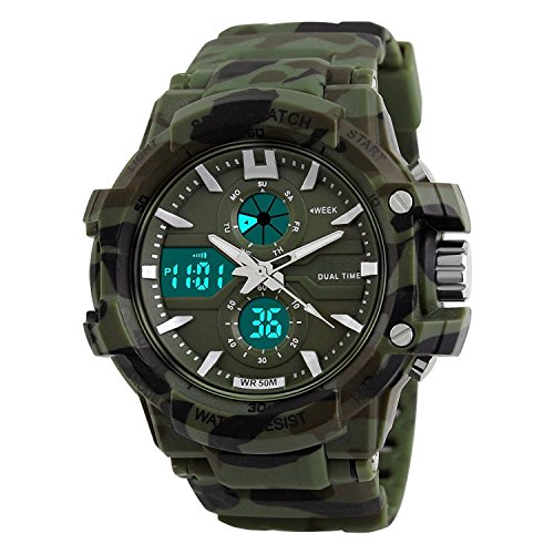 Glamary Stylish Digital Analog Multicolor Dial Army Green Sports Stainless Steel Dual Time Zone Sports Watch Army Watches for Men and Boy's