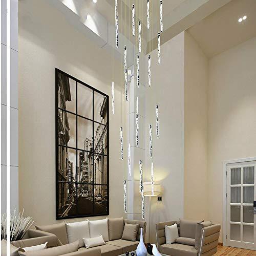WSYYWD Sala de estar Hotel Restaurante Brillante Espiral de aluminio Lámpara de techo de cristal Led Luz de escalera larga Led Blanco cálido 60x60x250cm