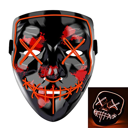 Charlemain LED Maske mit 3 Blitzmodi, Halloween Maske, harmlos, blinkende Maske für Halloween, Karneval, Party, Kostüm Cosplay, Dekoration (rot) (Halloween Party Kostüm Für Erwachsene)