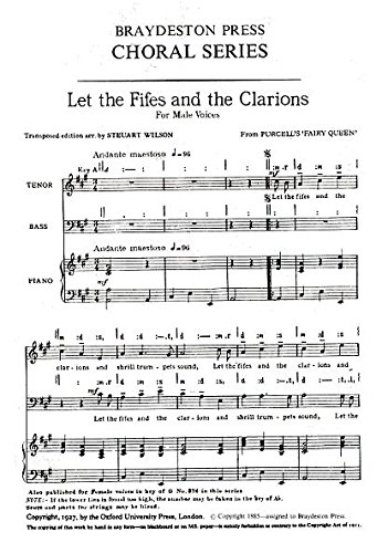 HENRY PURCELL: LET THE FIFES AND THE CLARIONS (ARR  WILSON)   TB  PARTITIONS POUR VOIX MASCULINES/ACCOMPAGNEMENT PIANO